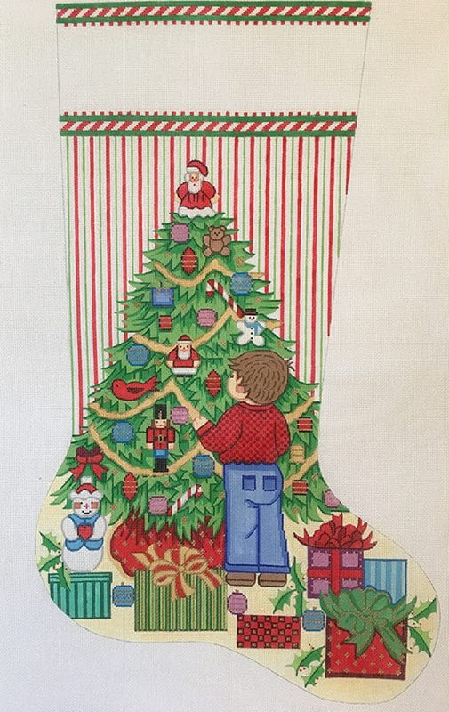 click here to view larger image of Christmas Stocking - Boy Decorating Christmas Tree (hand painted canvases)
