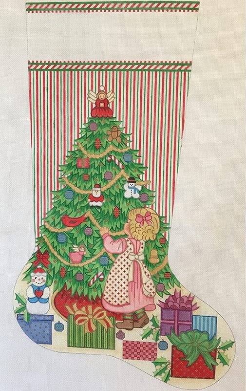 click here to view larger image of Christmas Stocking - Girl Decorating Christmas Tree (hand painted canvases)