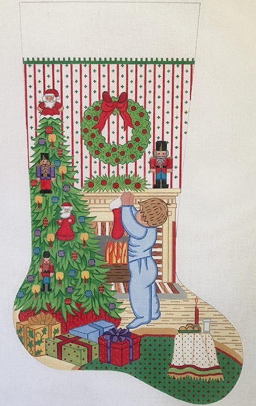 click here to view larger image of Christmas Stocking - Boy Hanging Christmas Stocking (hand painted canvases)