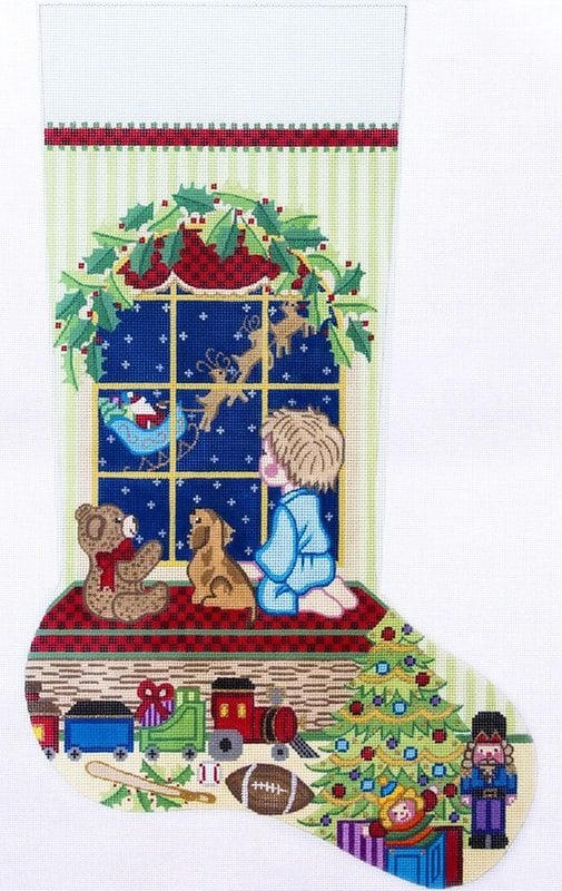 click here to view larger image of Christmas Stocking - Boy Watching Santa Fly Away (hand painted canvases)