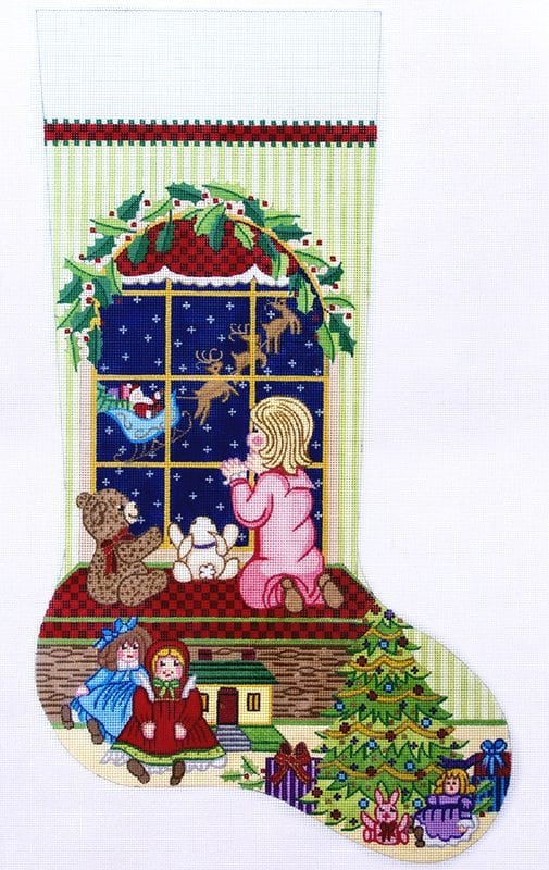 click here to view larger image of Christmas Stocking - Girl Watching Santa Fly Away (hand painted canvases)