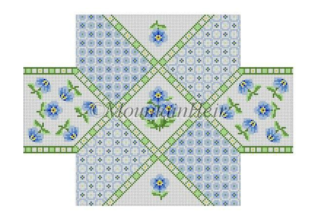 click here to view larger image of Blue Calico Patch Floral Brick Cover  (hand painted canvases)