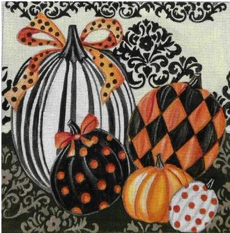 click here to view larger image of Elegant Pumpkins (hand painted canvases)