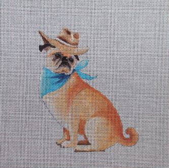 click here to view larger image of Pug Cowboy (hand painted canvases)