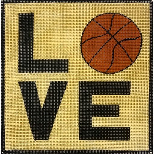 click here to view larger image of LOVE Basketball Square (hand painted canvases)