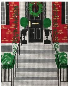 click here to view larger image of Beacon Hill Doorway at Christmas (hand painted canvases)