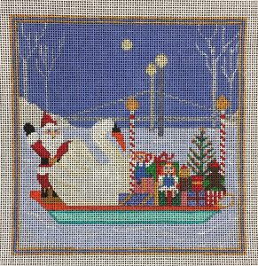 click here to view larger image of Christmas Swanboat (hand painted canvases)