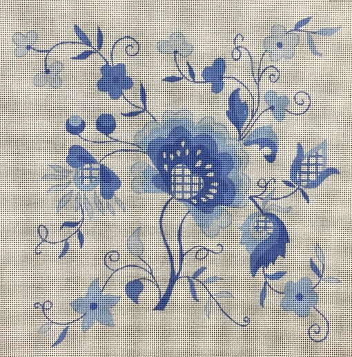 click here to view larger image of Blue Jacobean (hand painted canvases)