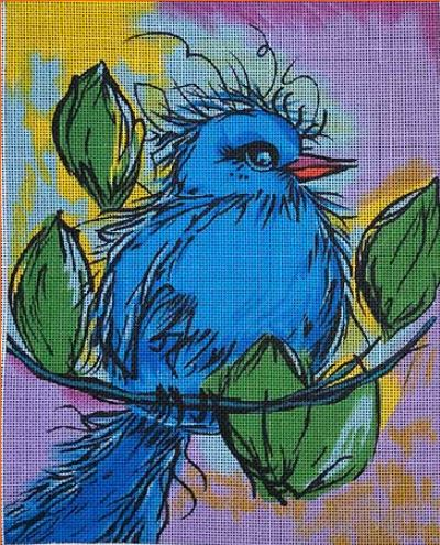 click here to view larger image of Little Blue Bird (hand painted canvases)