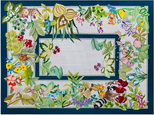 click here to view larger image of Animals & Flowers Rug (hand painted canvases)