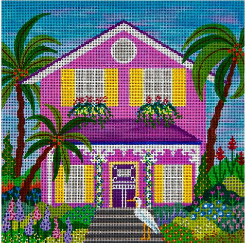 Pink Beach Bungalow hand painted canvases