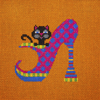 click here to view larger image of Black Cat in Pink Polka Dot Heel (hand painted canvases)