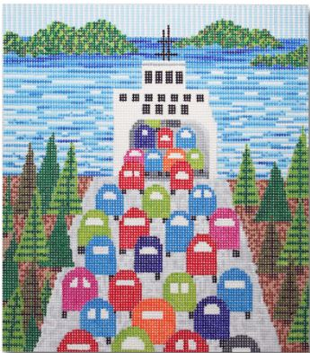 click here to view larger image of Ferry Ride (hand painted canvases)