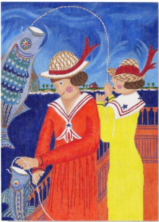 click here to view larger image of Girls Fishing  (hand painted canvases)