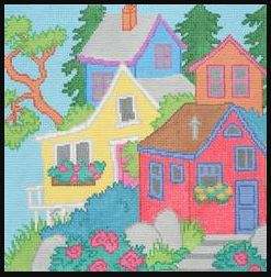 click here to view larger image of Houses on a Hill   (hand painted canvases)