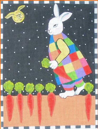 click here to view larger image of Old Bunny in the Moon (hand painted canvases)