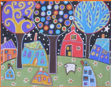 click here to view larger image of Night Village (hand painted canvases)