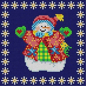 click here to view larger image of Snowman Ornament (hand painted canvases)