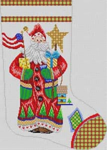 click here to view larger image of Santa With Flag Stocking (hand painted canvases)