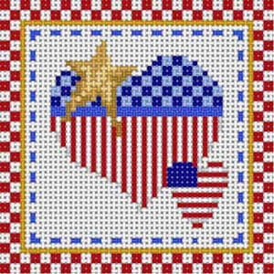 click here to view larger image of Patriotic Coaster - Heart/Star (hand painted canvases)