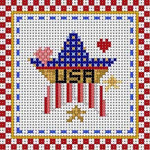 click here to view larger image of Patriotic Coaster - Star/USA (hand painted canvases)