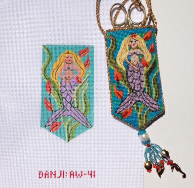 click here to view larger image of Mazzys Mermaid Necklace Scissor Case  (hand painted canvases)