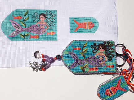 click here to view larger image of Millie the Mermaid Scissor Case  (hand painted canvases)