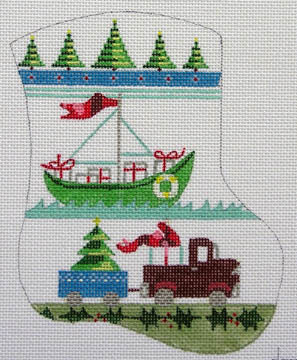 click here to view larger image of Boy's Mini Sock w/ Boat and Truck (hand painted canvases)
