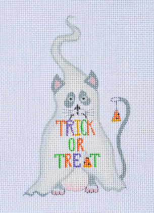 click here to view larger image of Trick or Treat Cat (hand painted canvases)