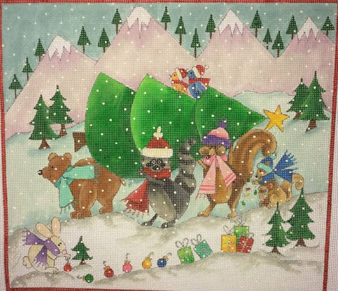 click here to view larger image of Through the Woods - Christmas is Coming (hand painted canvases)