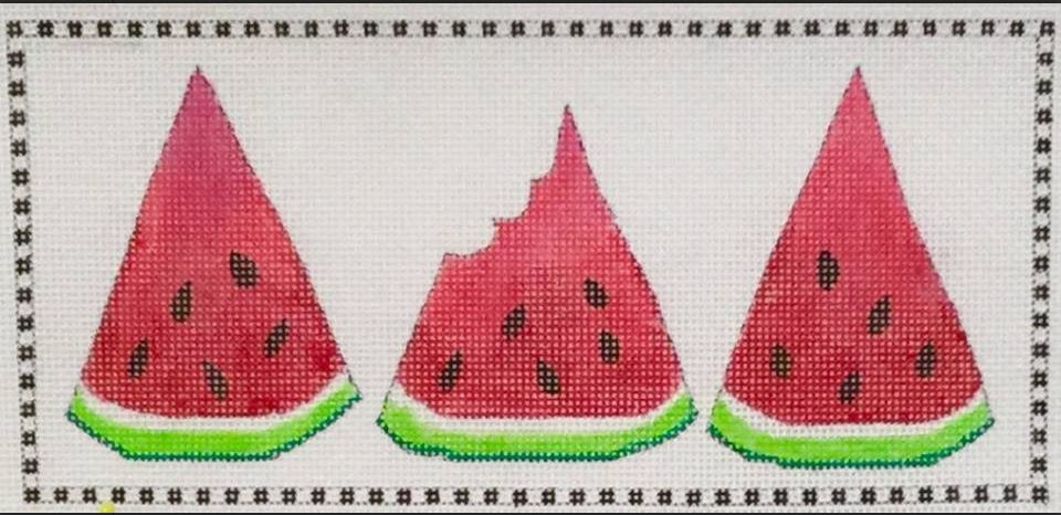 click here to view larger image of 3 Little Watermelon Wedges (hand painted canvases)