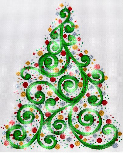 click here to view larger image of Swirly Christmas Tree (hand painted canvases)