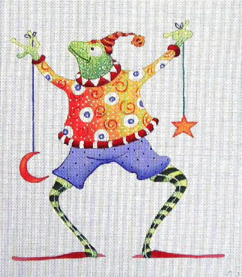 click here to view larger image of Frog with Sun Star and Moon (hand painted canvases)
