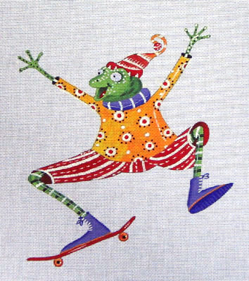 click here to view larger image of Frog on Skateboard (hand painted canvases)