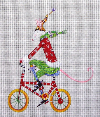 click here to view larger image of Mouse on Bicycle (hand painted canvases)