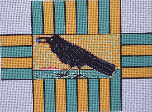 click here to view larger image of Black Bird Brick Cover (hand painted canvases)