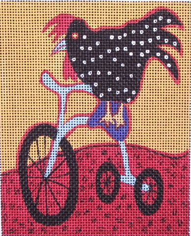 click here to view larger image of Rooster on Tricycle (hand painted canvases)