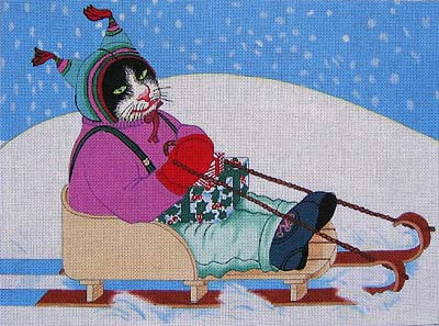 click here to view larger image of Sled Cat (hand painted canvases)