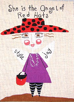 click here to view larger image of Angel of Red Hats (hand painted canvases)