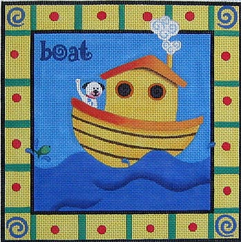 click here to view larger image of Boat With Doggie  (hand painted canvases)
