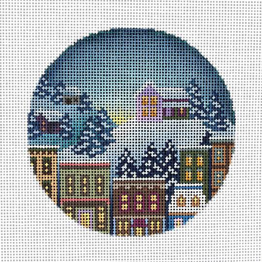 click here to view larger image of House in Winter Ornament (hand painted canvases)