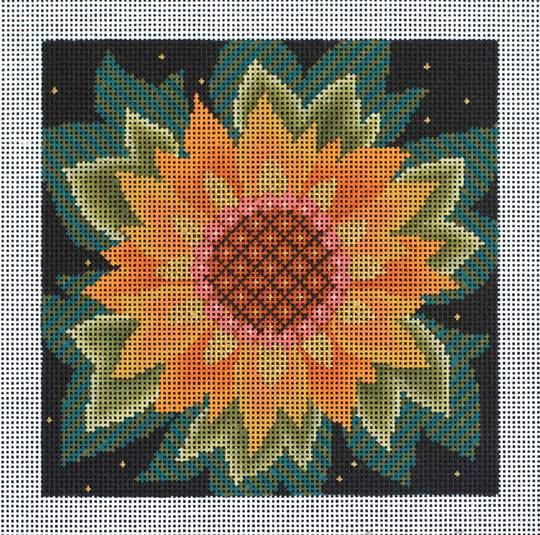 click here to view larger image of Single Jacobean Sunflower (hand painted canvases)