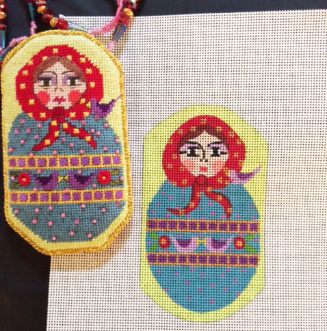 click here to view larger image of Russian Doll Scissor Case  (hand painted canvases)