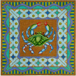 click here to view larger image of Blue Crab w/Border (hand painted canvases)