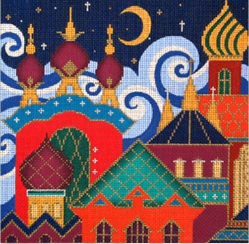 click here to view larger image of Russian Skyline w/Red (hand painted canvases)
