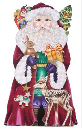click here to view larger image of Magenta Santa with Fawn (hand painted canvases)