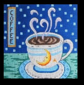 click here to view larger image of Coffee Cup - Moon and Star (hand painted canvases)