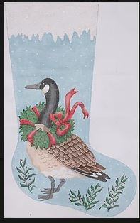 click here to view larger image of Canada Goose with Wreath Stocking (hand painted canvases)