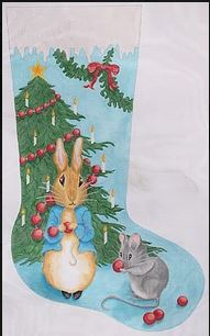 click here to view larger image of Bunny and Mouse Stocking (hand painted canvases)