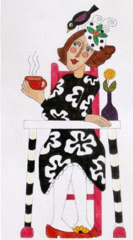 click here to view larger image of Tea Time for Petunia  (hand painted canvases)